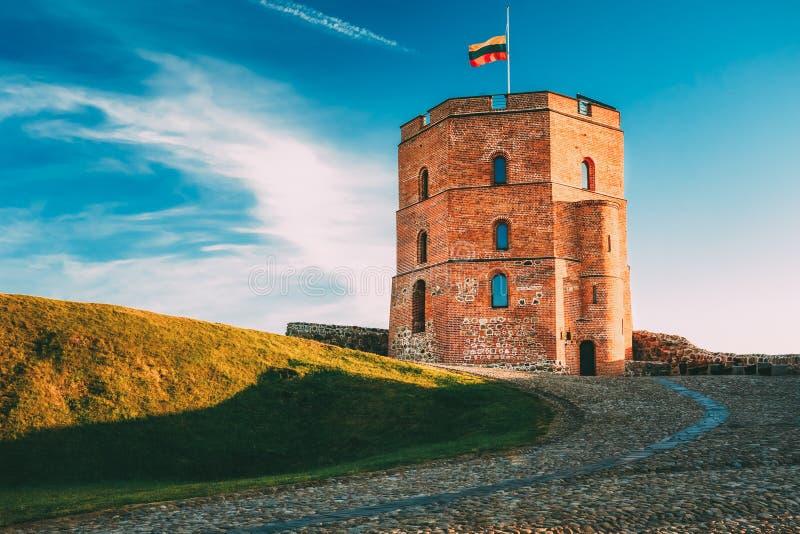 Πύργος Gediminas Gedimino σε Vilnius, Λιθουανία Ιστορικό σύμβολο της πόλης Vilnius και της Λιθουανίας η ίδια στοκ εικόνες