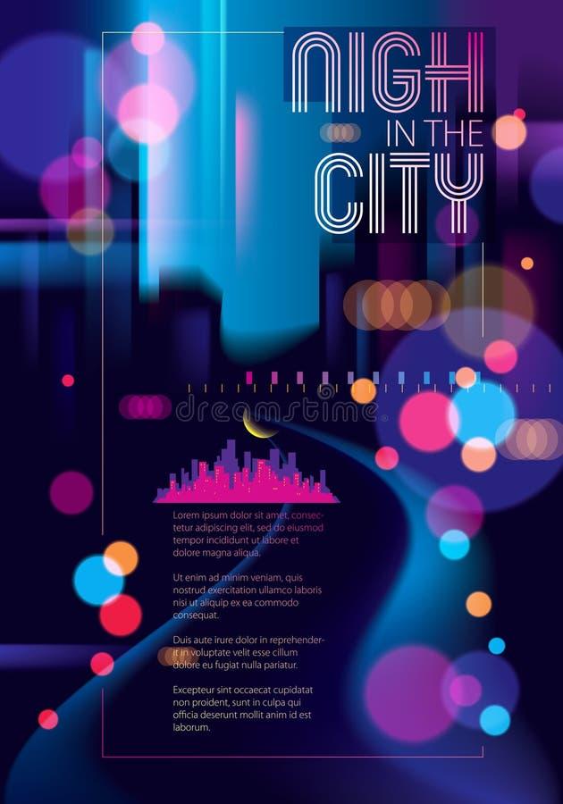 Πόλη νύχτας με τη θολωμένη διανυσματική απεικόνιση σύστασης φω'των bokeh Ζωηρόχρωμο σκοτεινό υπόβαθρο θαμπάδων με τη εικονική παρ διανυσματική απεικόνιση
