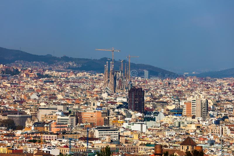 Πόλη της εναέριας εικονικής παράστασης πόλης άποψης της Βαρκελώνης στοκ φωτογραφία με δικαίωμα ελεύθερης χρήσης