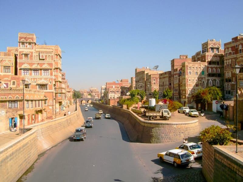 """Πόλη της Sana """"α, οδοί και κτήρια της πόλης στην Υεμένη στοκ φωτογραφία με δικαίωμα ελεύθερης χρήσης"""