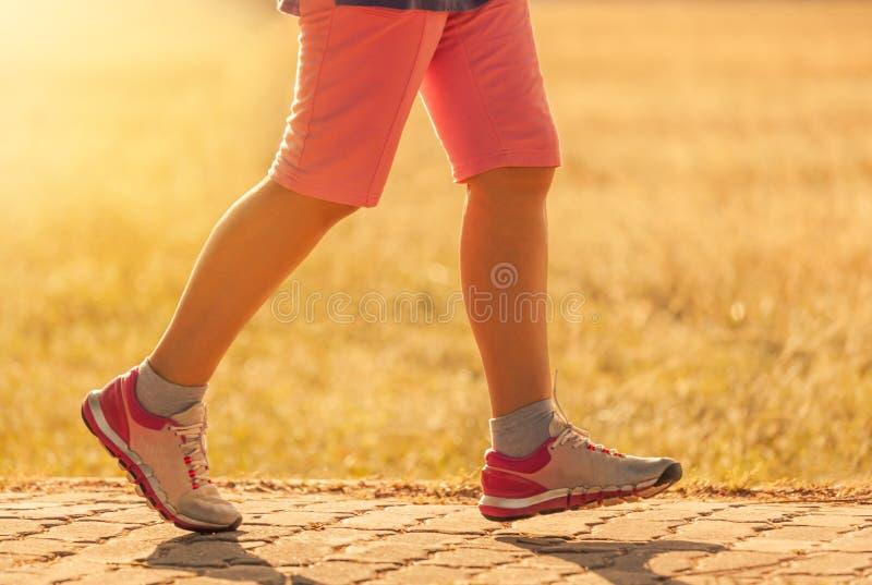 Πόδια γυναικών που στο δρόμο στο ηλιοβασίλεμα στοκ εικόνες