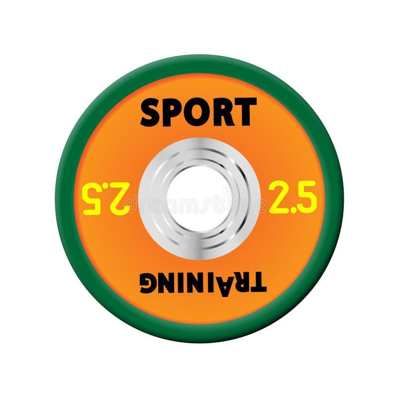 Πυκνά πορτοκαλιά πιάτα βάρους που αριθμούνται τα βάρη 2,5 Εξοπλισμός απεικόνισης για τα barbells ΓΥΜΝΑΣΤΙΚΗ, κέντρο ικανότητας με διανυσματική απεικόνιση