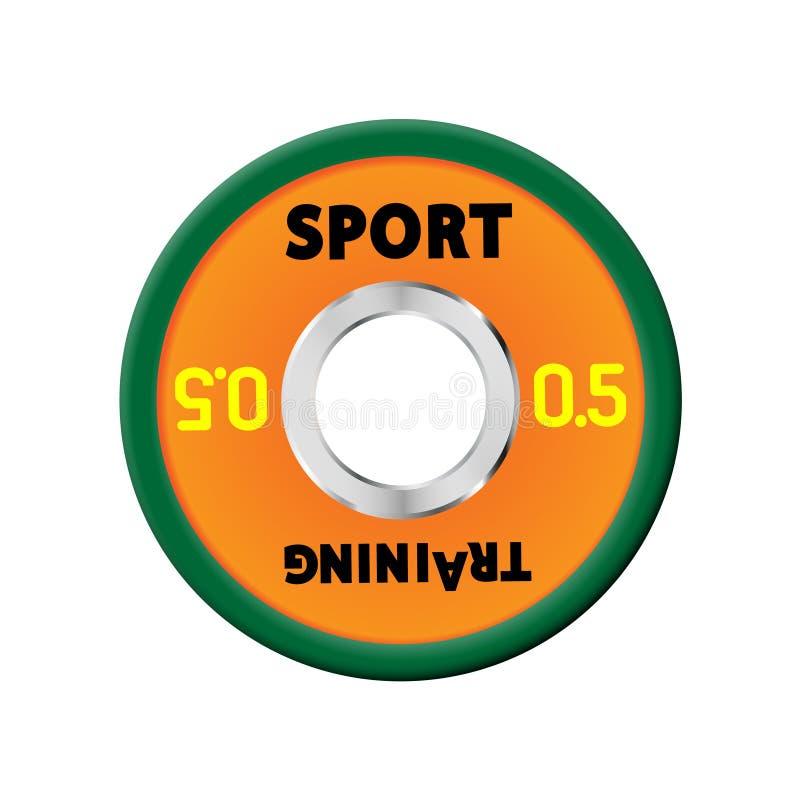Πυκνά πορτοκαλιά πιάτα βάρους που αριθμούνται τα βάρη 0,5 Εξοπλισμός απεικόνισης για τα barbells ΓΥΜΝΑΣΤΙΚΗ, κέντρο ικανότητας με διανυσματική απεικόνιση