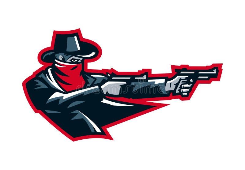 Πυροβολισμός κάουμποϋ λογότυπων από ένα περίστροφο Άγρια δύση, ληστές, σερίφης, έγκλημα Μασκότ, αυτοκόλλητη ετικέττα, έμβλημα Αθλ απεικόνιση αποθεμάτων