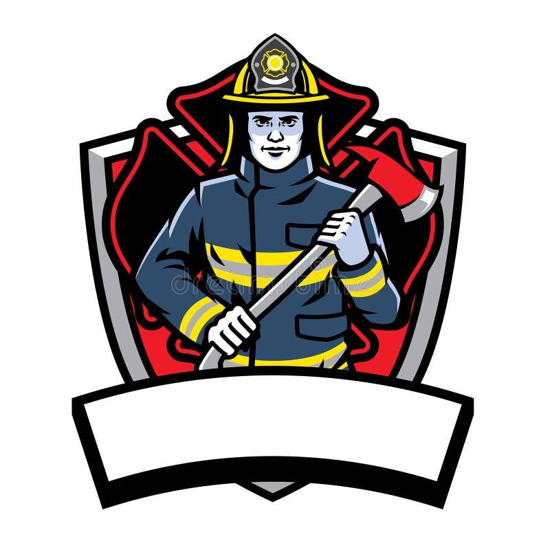 Πυροσβέστης που θέτει τη λαβή το διακριτικό τσεκουριών απεικόνιση αποθεμάτων