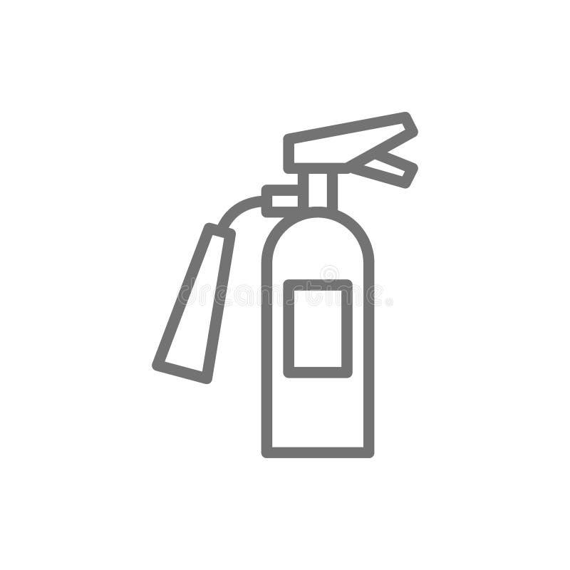 Πυροσβεστήρας, εικονίδιο γραμμών εξοπλισμού πυροσβεστών απεικόνιση αποθεμάτων