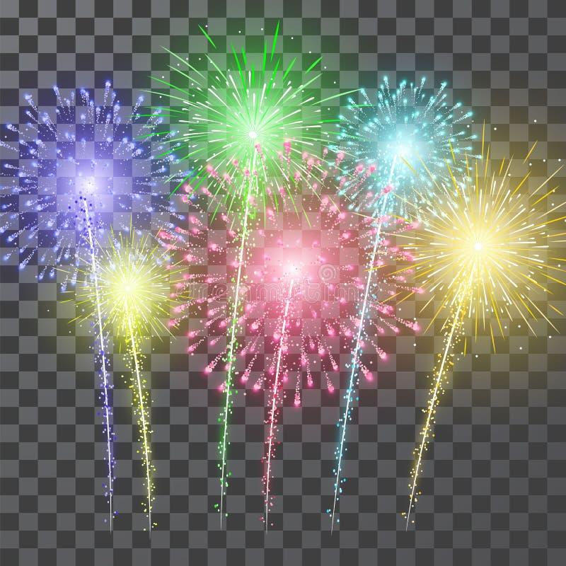 Πυροτεχνήματα Ζωηρόχρωμο πυροτέχνημα φεστιβάλ Διανυσματικό llustration στο μπλε υπόβαθρο ελεύθερη απεικόνιση δικαιώματος