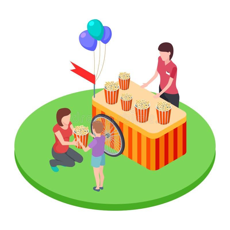 Πωλώντας popcorn στο πάρκο, μια γυναίκα δίνει σε ένα popcorn αγοριών καλάθι τη isometric διανυσματική απεικόνιση απεικόνιση αποθεμάτων