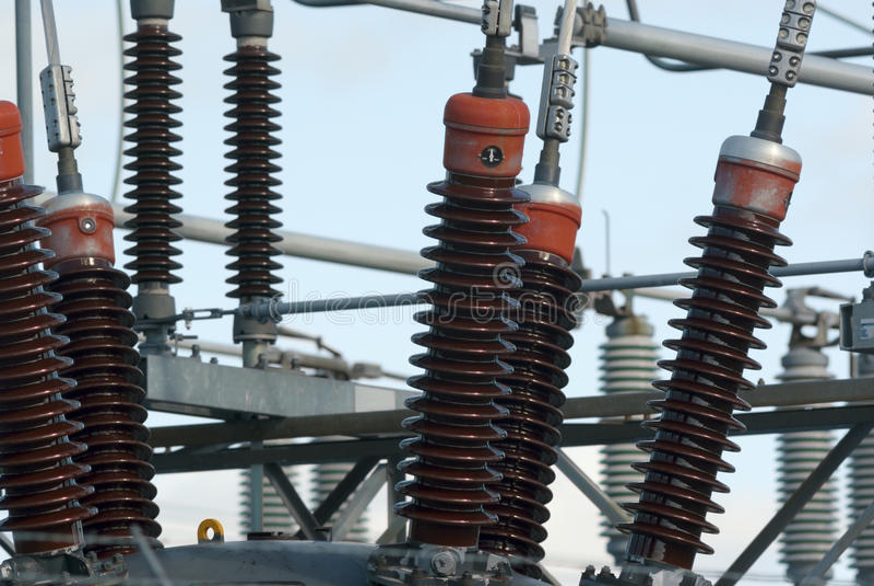 ï' ¿ elektryczności transformatoru elektrowni wysoki woltaż zdjęcie royalty free