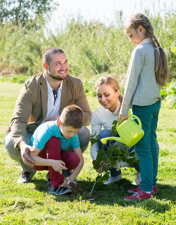 """ï"""" ¿ familj som utomhus planterar trädet royaltyfri bild"""