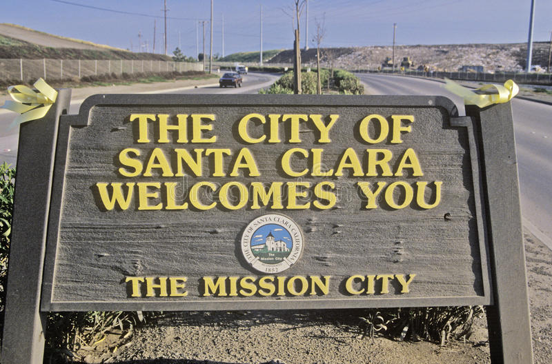 ï¿ ½ staden av tecknet för Santa Clara Welcomes Youï ¿ ½, Santa Clara, Silicon Valley, Kalifornien royaltyfri foto