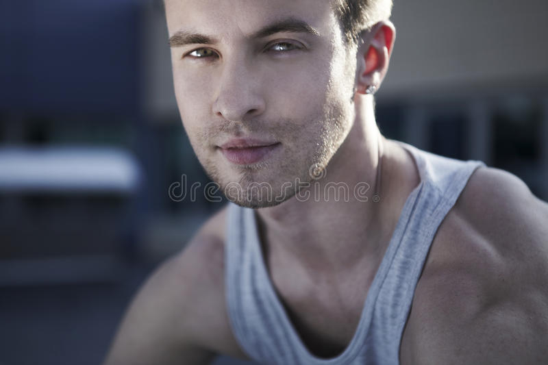 Ð¡lose-up portrait of young male model stock image