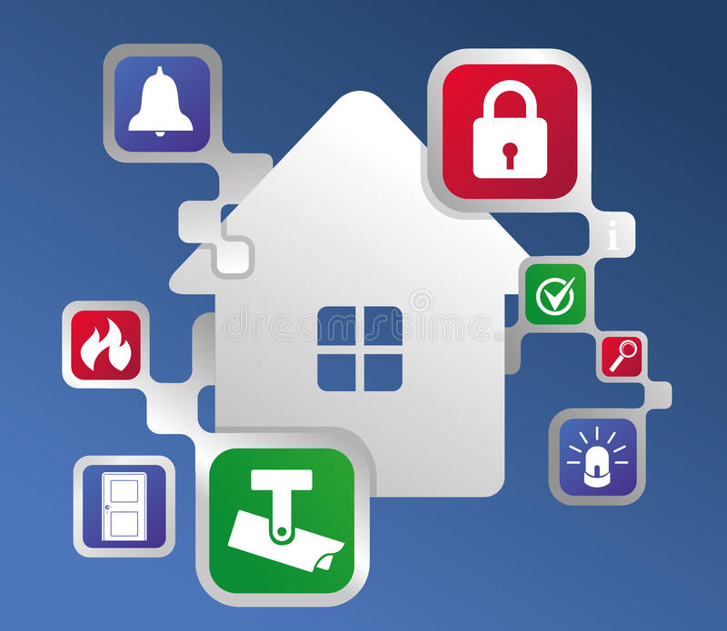 Ð¡ontrol and security of the home stock illustration