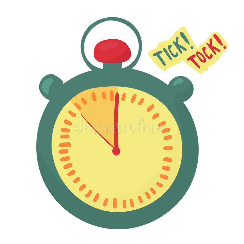 Уtimer показывает что время бежит вне Последняя минута стрелки делают tock тикания Секундомер иллюстрация штока