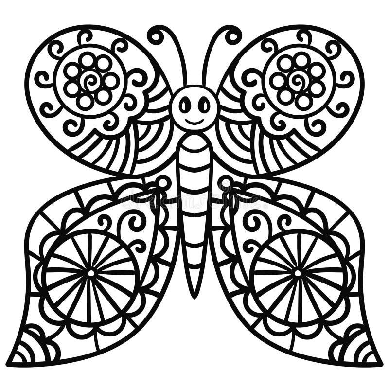 Абстрактная бабочка для книжка-раскраски для взрослых doodle иллюстрация штока
