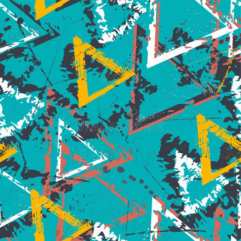 Абстрактная безшовная геометрическая картина с треугольниками Картина Grunge для мальчиков, девушек, спорта, моды Городские красо иллюстрация штока