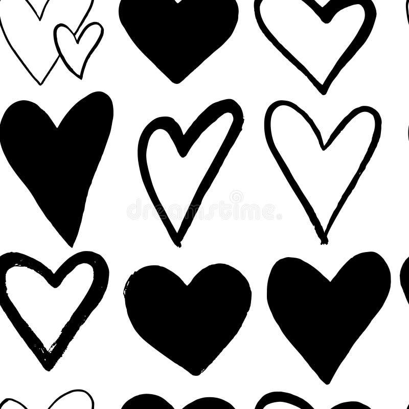 Абстрактная безшовная картина сердец руки рисуя Иллюстрация чернил Черные сердца на белой предпосылке иллюстрация вектора