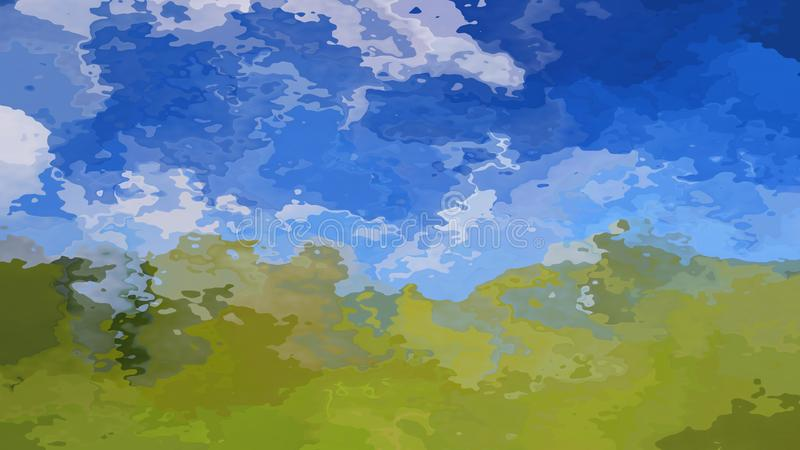 Абстрактная запятнанная трава ландшафта предпосылки прямоугольника картины зеленая и небесно-голубой цвет - современное крася иск иллюстрация штока