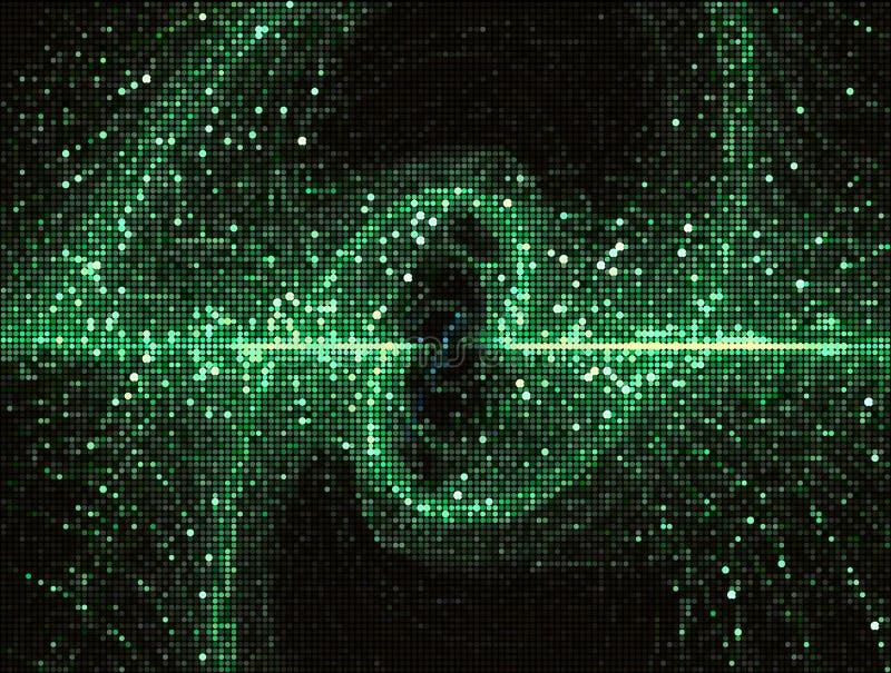 Абстрактная зеленая иллюстрация вектора со скручиваемостями в стиле технологии иллюстрация штока