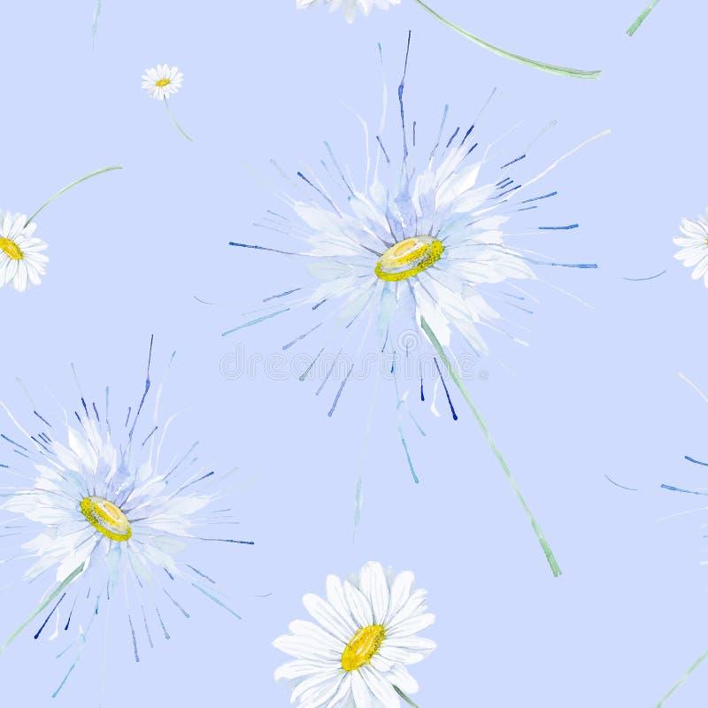 Абстрактная иллюстрация акварели стоцветов Изолировано на голубой предпосылке картина безшовная бесплатная иллюстрация