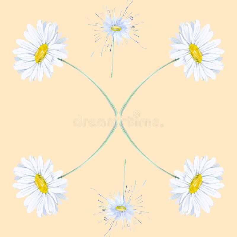 Абстрактная иллюстрация акварели стоцветов Изолировано на желтой предпосылке картина безшовная бесплатная иллюстрация