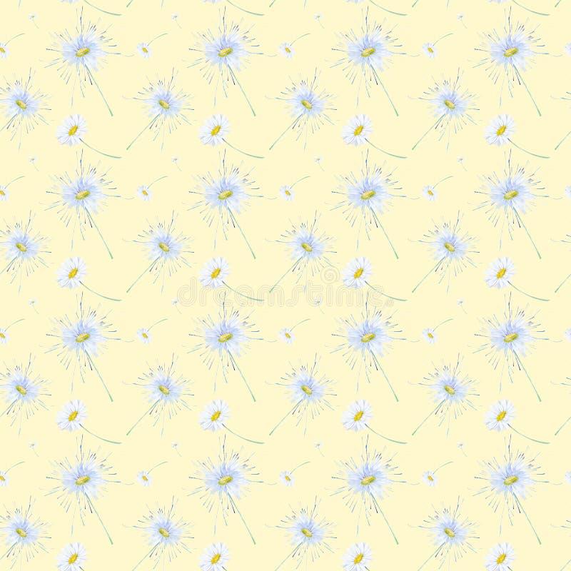 Абстрактная иллюстрация акварели стоцветов Изолировано на желтой предпосылке картина безшовная иллюстрация штока