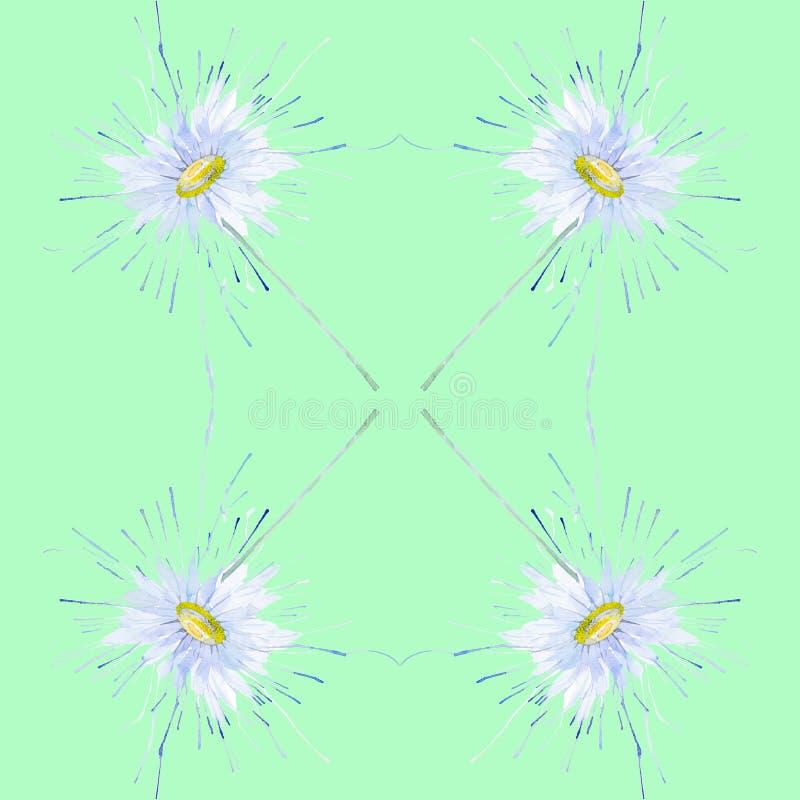 Абстрактная иллюстрация акварели стоцветов Изолировано на зеленой предпосылке картина безшовная бесплатная иллюстрация