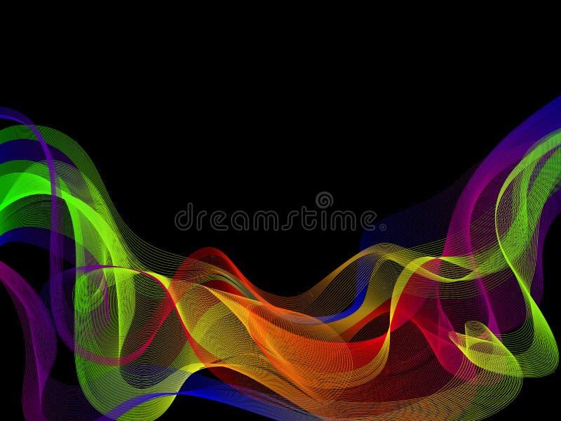 абстрактная конструкция предпосылки Красочное волновое движение на темной предпосылке бесплатная иллюстрация