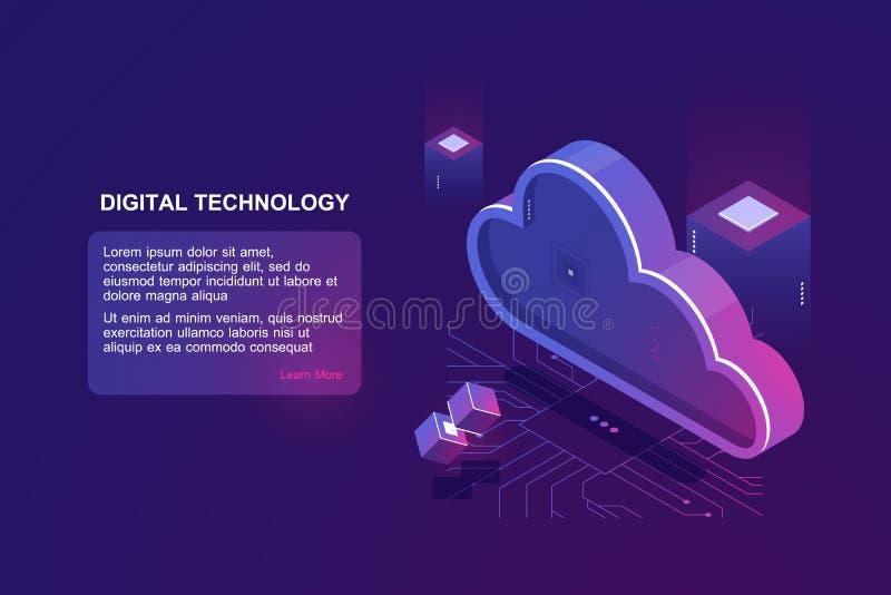 Абстрактная концепция цифровых вычислять облака, хранения данных облака, комнаты сервера, базы данных и информационного хранилища иллюстрация штока