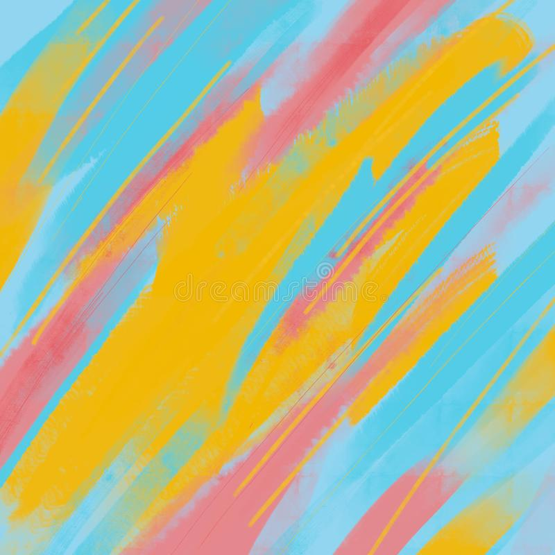 Абстрактная предпосылка, метод drybrush, акриловый Картина краски brushstrokes руки вычерченная Яркие цветы иллюстрация штока