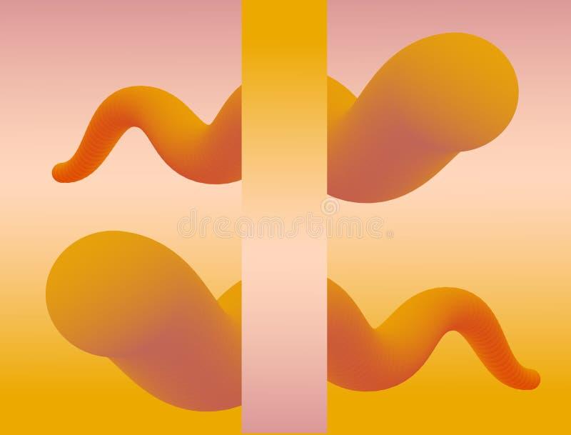 Абстрактная предпосылка с волнистыми жидкими формами градиента 3d Мягкие оранжевые цвета иллюстрация штока