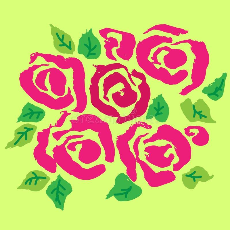 Абстрактная предпосылка цветка чернил grunge Розовая роз и зеленая картина щетки также вектор иллюстрации притяжки corel иллюстрация штока