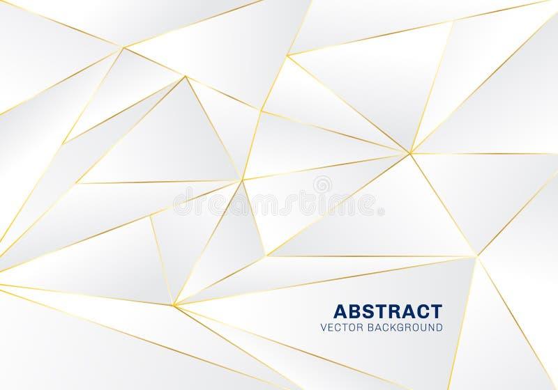 Абстрактная полигональная роскошь картины на белой и серой предпосылке заголовка с золотыми линиями иллюстрация штока