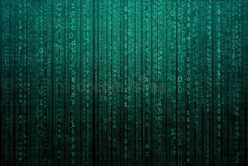 Абстрактная цифровая предпосылка с бинарным кодом Хакеры, darknet, виртуальная реальность и научная фантастика иллюстрация штока
