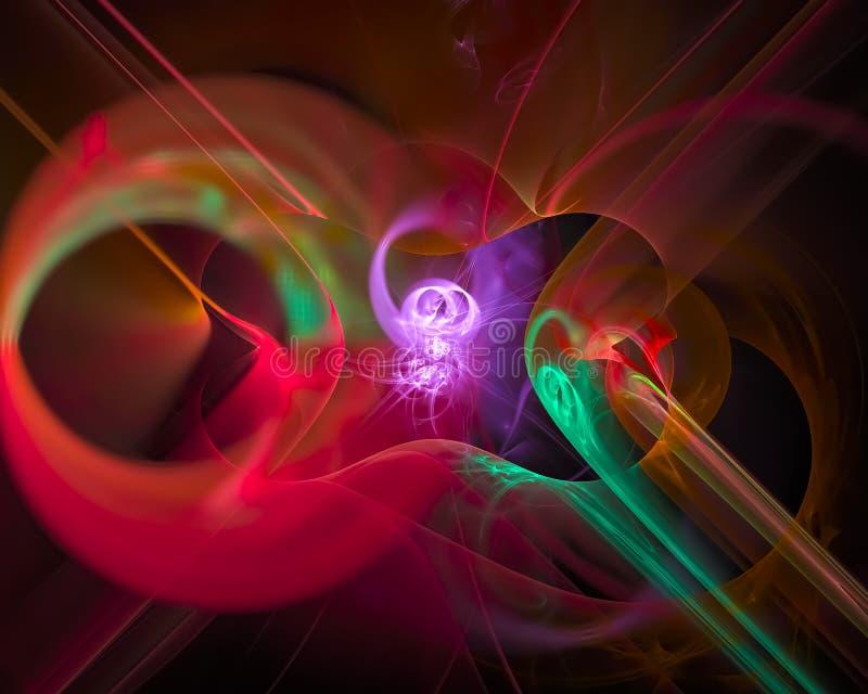Абстрактная цифровая фракталь, движение дизайна картины футуристическое красочное красивое, свирль, сияющая бесплатная иллюстрация