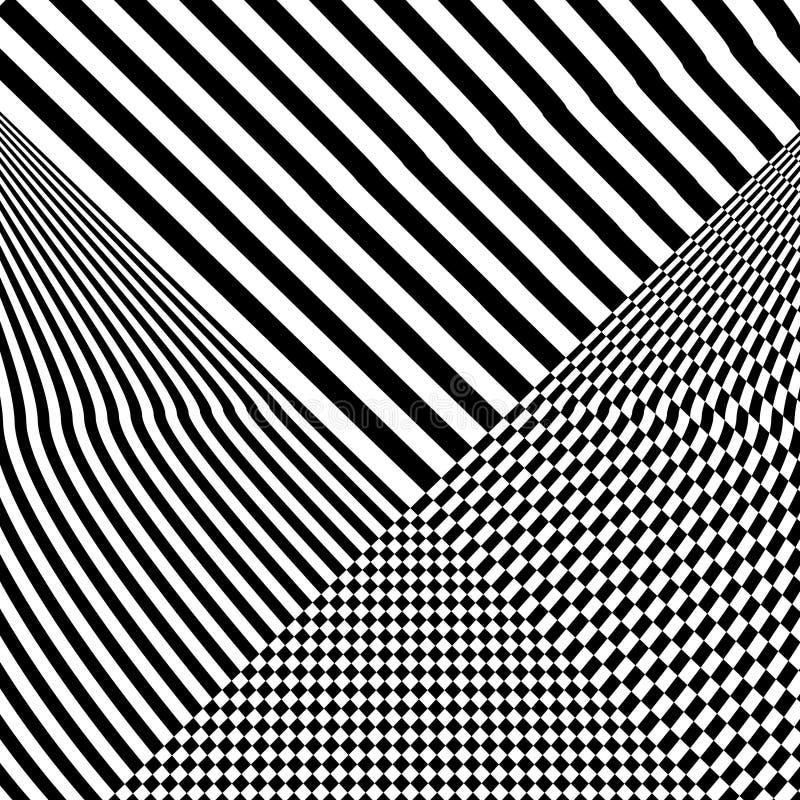 Абстрактная черно-белая striped предпосылка Геометрическая картина с визуальным эффектом искажения иллюстрация вектора