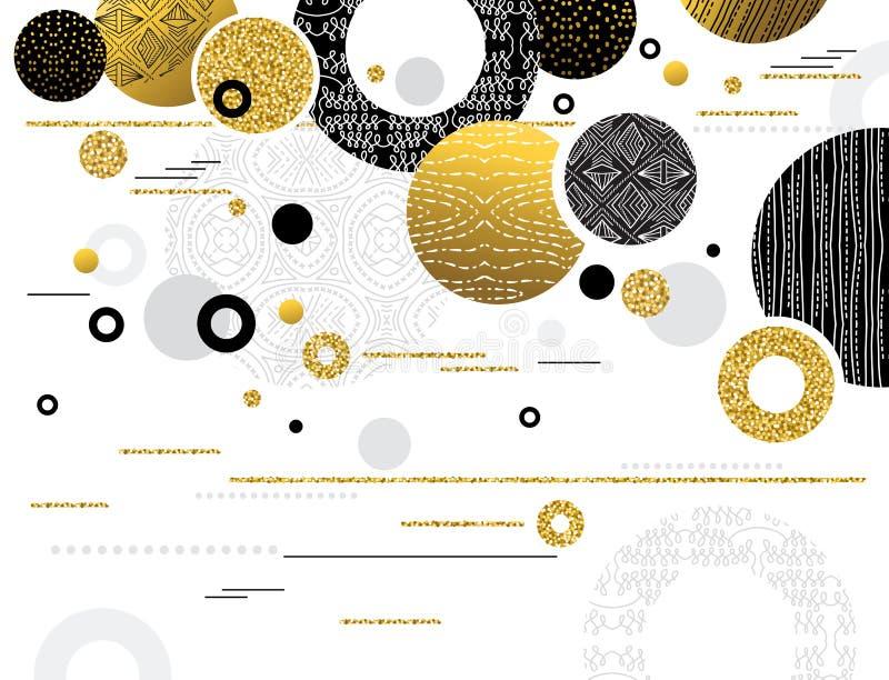 Абстрактная современная предпосылка с золотыми и черными блестящими кругами украшенными с картинами конструируйте геометрическое  иллюстрация вектора