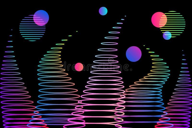 Абстрактные волны и круги градиента предпосылки бесплатная иллюстрация
