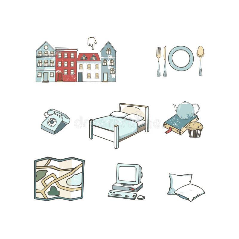 Абстрактные значки установили планировать каникулы, путешествующ на путешествии праздника, и багаже пассажира Необыкновенная плос иллюстрация штока