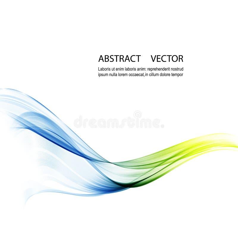 Абстрактные предпосылка, синь и зеленый цвет вектора развевали линии для брошюры, вебсайта, дизайна рогульки иллюстрация вектора