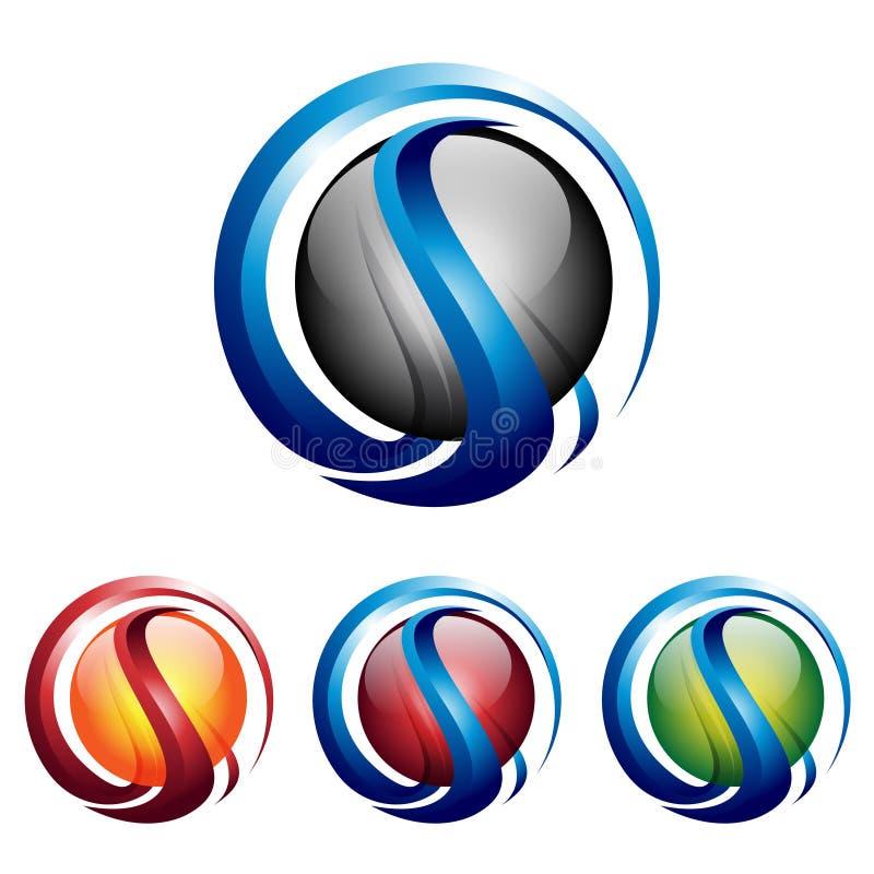 Абстрактный значок логотипа технологии интернета сферы 3D s иллюстрация вектора