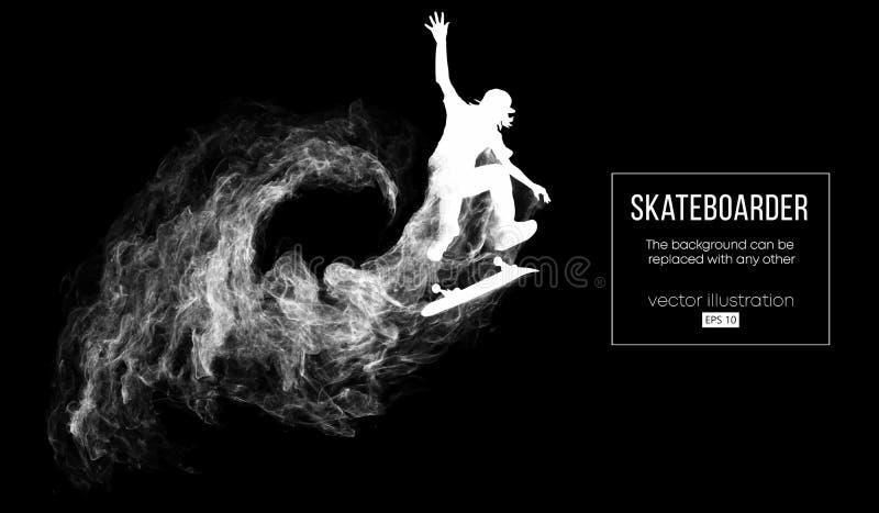 Абстрактный силуэт скейтбордиста на темной черной предпосылке Скейтбордист скачет и выполняет фокус вектор иллюстрация вектора