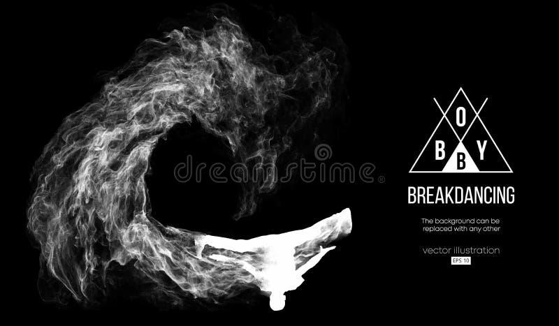 Абстрактный силуэт breakdancer, человек, bboy, выключатель, ломая на темной черной предпосылке Танцор Вальм-Хмеля вектор бесплатная иллюстрация
