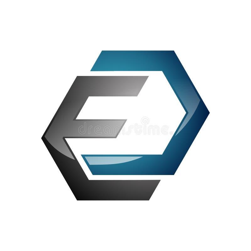 Абстрактный символ логотипа дела письма шестиугольника e иллюстрация вектора