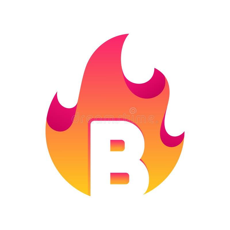 Абстрактный шаблон вектора дизайна b письма огня иллюстрация вектора