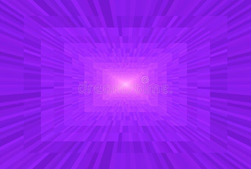 Абстрактный фиолет и розовая предпосылка градиента Прямоугольные блоки в перспективе Свет картины мозаики в конце тоннеля иллюстрация штока