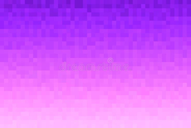 Абстрактный фиолет и розовая предпосылка градиента Текстура с блоками пиксела квадратными Картина мозаики иллюстрация штока