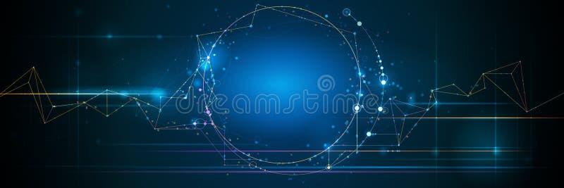 Абстрактное знамя молекул с линией круга, структурой молекулы Предпосылка связи системы дизайна вектора иллюстрация штока