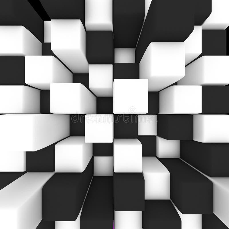 Абстрактное изображение: черно-белая иллюстрация кубов 3D бесплатная иллюстрация