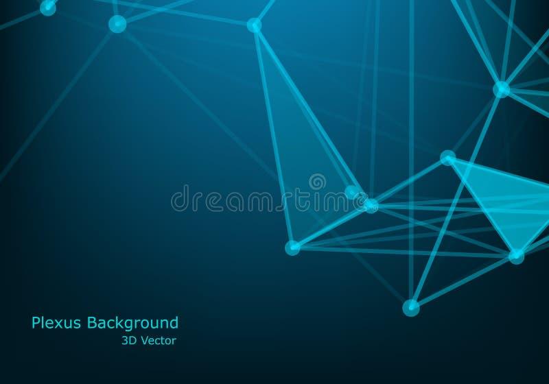 Абстрактное футуристическое - технология молекул с полигональными формами на синей предпосылке Дизайн вектора иллюстрации цифрово иллюстрация вектора